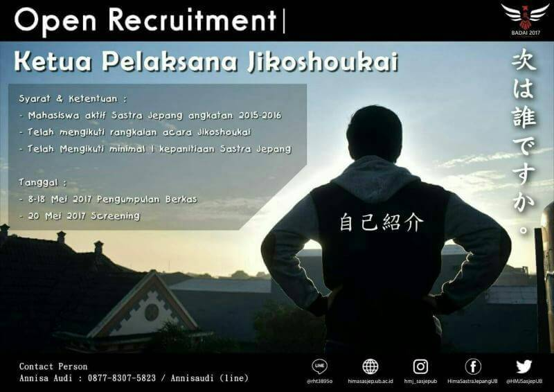OPEN RECRUITMENT KETUA PELAKSANA JIKOSHOUKAI