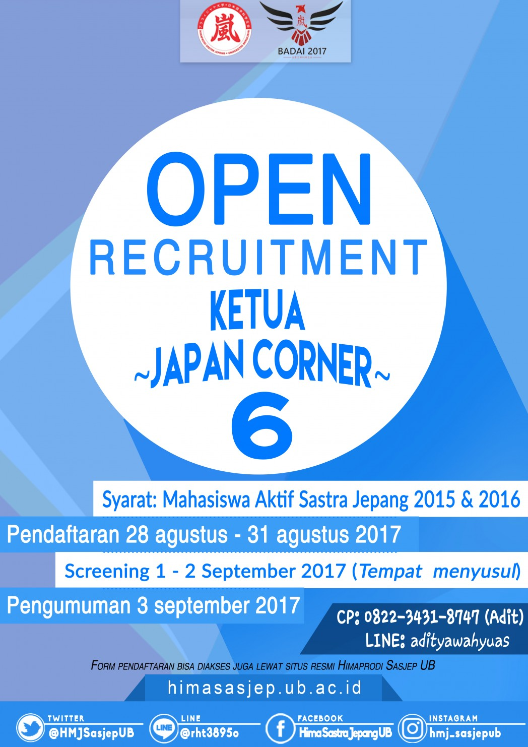 OPEN RECRUITMENT KETUA JAPAN CORNER 6