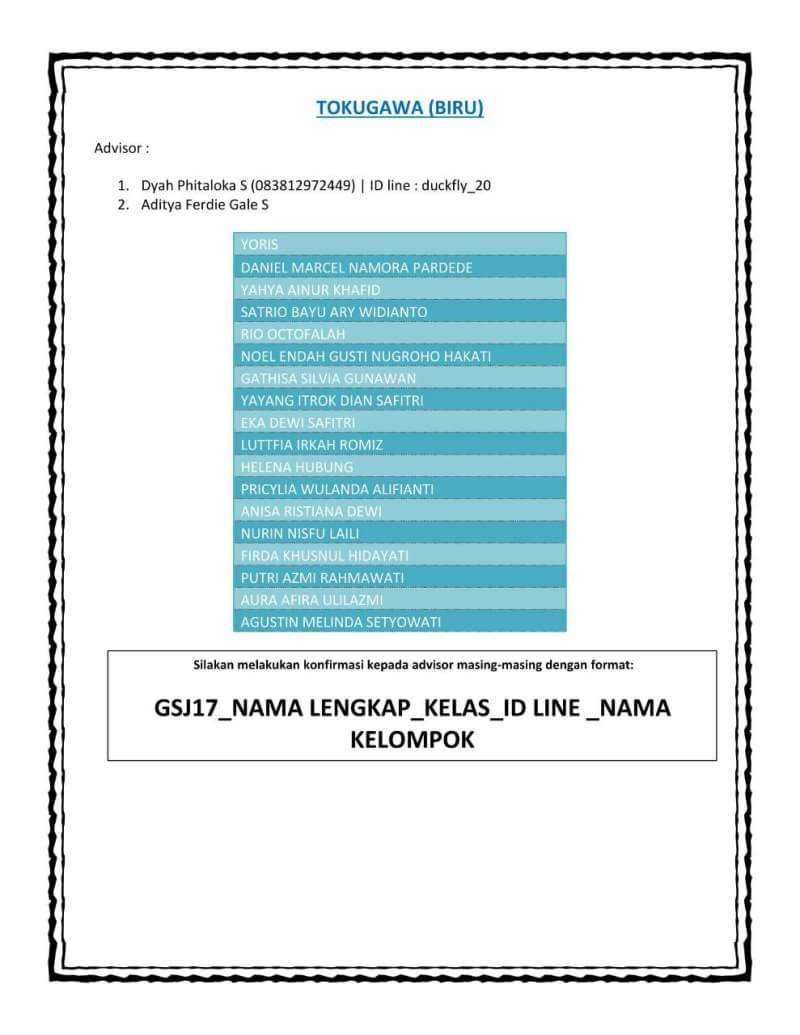 PEMBAGIAN KELOMPOK GATHERING MABA SASTRA JEPANG 2017
