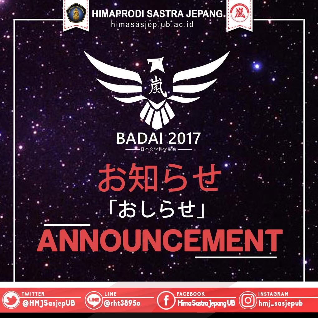 PENGUMUMAN STAFF MUDA HIMPUNAN SASTRA JEPANG 2017