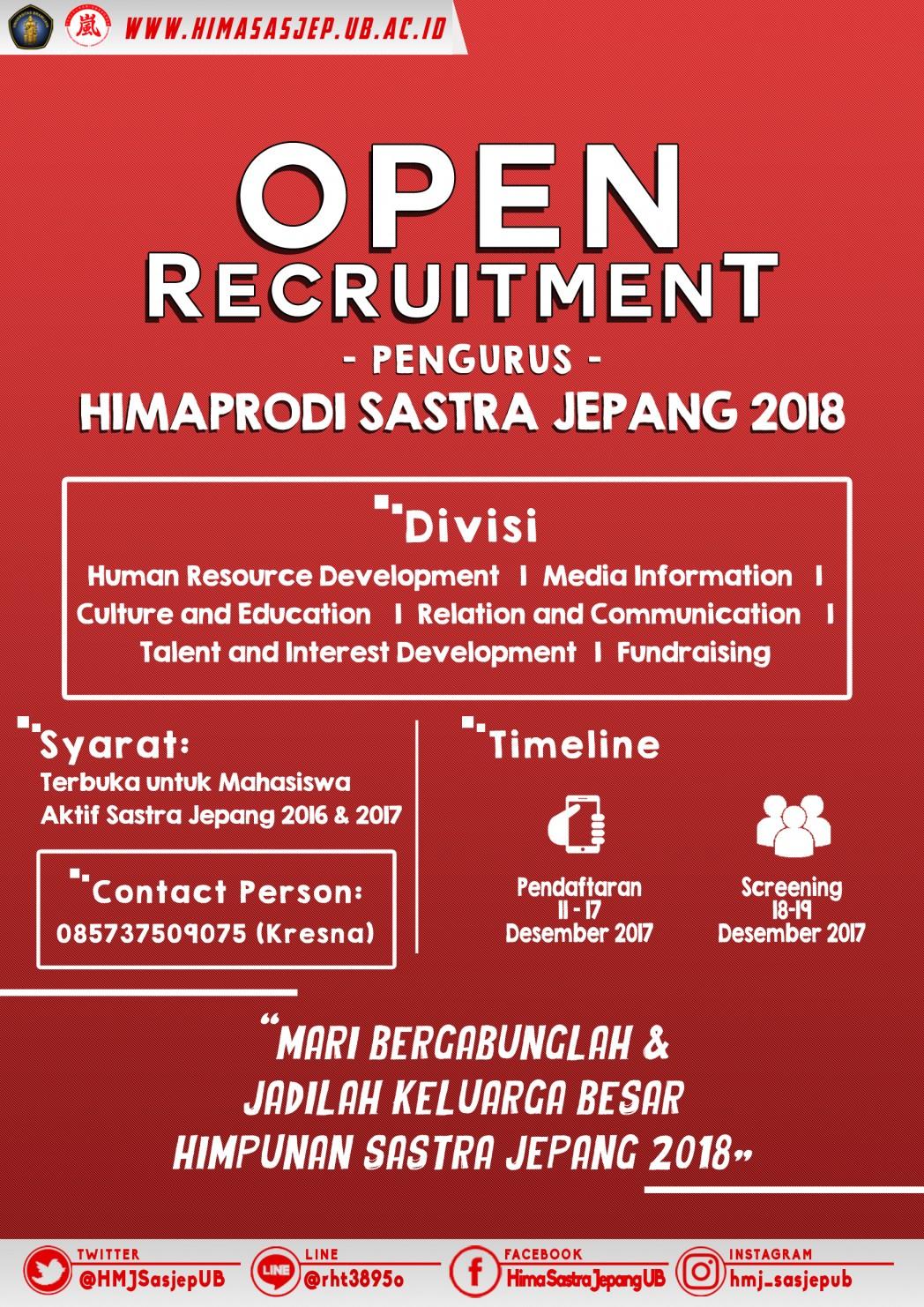 Open Recruitment staff Himaprodi Sastra Jepang 2018